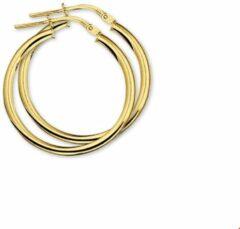 Goudkleurige Quickjewels huiscollectie Gouden oorbellen 4018331. Dikte 2,5 mm en Diameter: 25mm