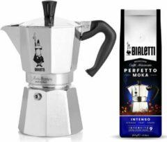 Zilveren Bialetti Moka Express 6 kops + Bialetti Intenso gemalen koffie 250gr