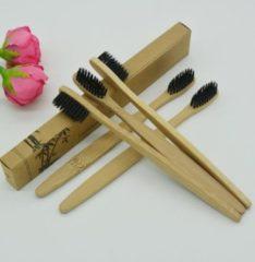 Bruine Merkloos / Sans marque Set van 5 stuk(s) Bamboe Tandenborstel