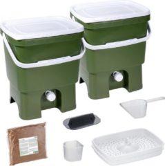 Groene Skaza Exceeding Expectations Skaza Bokashi Organko keukencompostbak van gerecycled plastic | 2x 16 L | Starter Set voor keukenafval en compostering | met EM zemelen 1 kg