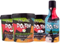 Inoar Doctor Shampoo 240ml&3x Haarmasker 450ml Keratin Argan Cacao Butter zijdig&gezond haar