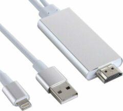 GSMSCHERM Kapot © 8 pin Lightning naar HDMI kabel - TV Adapter - voor Ipad / ipod en IPhone 5 tot X - Zilver - 1.8 M