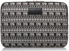 Witte Kayond Laptop Sleeve met olifanten tot 13 inch Zwart/Wit