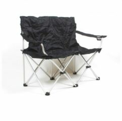 Basic Nature - Travelchair Love Seat Faltsofa - Campingstoel zwart/wit/grijs