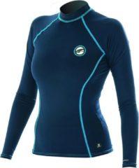 Donkerblauwe Pro Limit Prolimit Zwemshirt Dames lange mouwen - Zwart/Cyaanblauw - Maat S