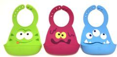 3x Silicone kinder slabbetjes Groen Paars Blauw| Zachte Slabbetjes| Makkelijk afspoelen | Opvangbak | Super leuk | By TOOBS