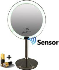 Gerard Brinard Sensor make-up spiegel met LED licht 5x vergroting, Inclusief batterijen, 16 cm doorsnee, badkamer spiegel