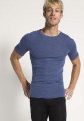 Hessnatur Herren Halbarm-Shirt PureWOOL aus Bio-Merinowolle – blau – Größe 4