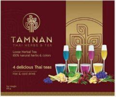 4 delicious Thai teas - kruidenthee van Tamnan Thai Herbs & Tea - cadeauverpakking - totaal 100 gram - 100% natuurlijke losse Thaise thee