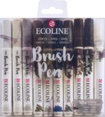 Talens Ecoline Brush Pen - 10 stuks - Grijs - Brushpen