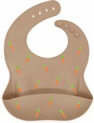 Taupe Merkloos / Sans marque Siliconen slabbetjes met opvangbak - slabbetjes baby - slabber - slabbertje - BPA-vrij - Waterdicht - Genderneutraal - Verstelbaar