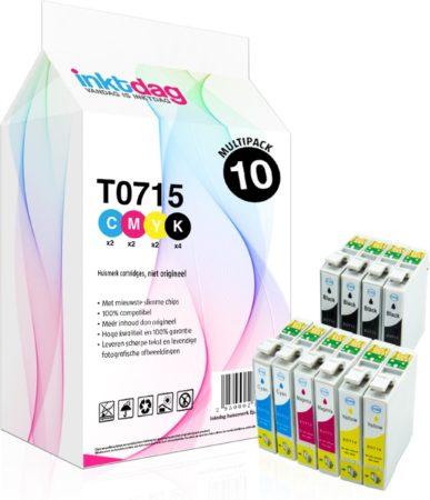 Afbeelding van Inktdag huismerk Epson T0715 Multipack inktcartridges, 10 pack (4 zwart, 2 cyaan, 2 magenta, 2 geel)