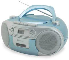 Soundmaster SCD5410 CD-Boombox, mit Kassettenspieler, verschiedene Farben Farbe: Blau
