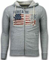 Enos Casual Vest - Embroidery American Heritage - Grijs - Maat: L