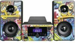 Zwarte Lenco MC-020 - Stereoset met FM radio, bluetooth, USB en een AUX-ingang - Tags