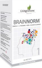 LivingGreens Brainnorm (60 caps) - Focus - Concentratie - Kinderen - Volwassenen - L-Theanine -Omega vetzuren -GABA -Blauw Glidkruid