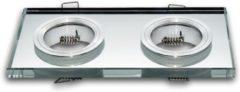 Groenovatie LED line Inbouwspot - Dubbel - Vierkant - Glas - 178x89 mm - GU5.3 Fitting - Chroom