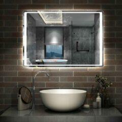 Aica Sanitair LED rondhoekige badkamerspiegel 100x70 cm,5mm wandspiegel,IR sensor schakelaar,koud wit,anti-condens