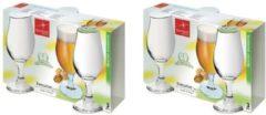 Transparante Merkloos / Sans marque 6x Speciaalbier glazen - 375 ml - tulpvormige bierglazen