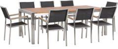 Transparante Tuinset eucalyptushout met 8 gestoffeerde stoelen grijs GROSSETO
