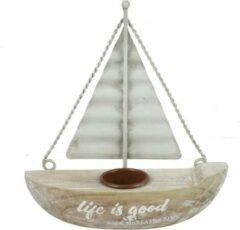 Naturelkleurige Decostar Living en Decoration Theelichthouder zeilboot Ponti S naturel
