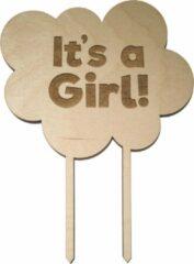 Bruine Laserfabrique Houten Taarttopper It's A Girl - Taart decoratie geboorte - Gender reveal