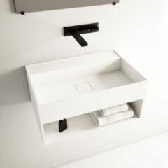 Ideavit SolidBliss Wastafel 60x40x28cm 0 kraangaten Solid surface mat wit Solidbliss-60SH