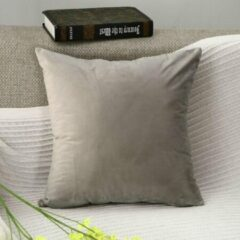 Licht-grijze Geen specifiek merk DB Lifestyle kussenhoes 50x50cm lichtgrijs | vierkant | fluwelen effen sierkussen