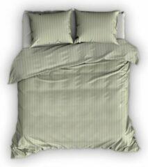 Groene Satin D'or Satin D'or Satijnstreep Dekbedovertrek - Lits-jumeaux (240x200/220 Cm + 2 Slopen) - Katoen Satijn - Khaki