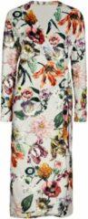 Zandkleurige Essenza Vera Filou fleece badjas met bloemenprint