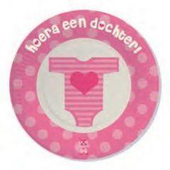 Roze Haza Beschuitbordjes Hoera een dochter.