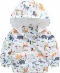 Merkloos / Sans marque Dieren kinderjas - Wit met dierenprint - 2-4 jaar maat 90