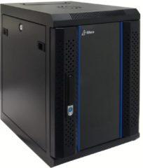 "Zwarte Alfaco 10-3409, 10"", 9U serverkast - wandkast, GEMONTEERD, gehard glazendeur (BxDxH) 370X450X500mm"