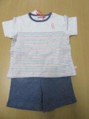 Noukie's zomer pyjama voor jongens, wit met jeansblauw, 4 jaar 104