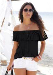 Zwarte Buffalo strandshirt met borduursel en kwastjes