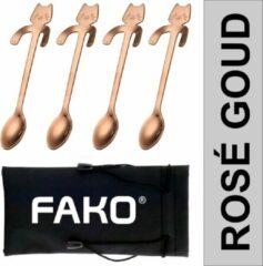 Roze Fako Bijoux® - Theelepel / Koffielepel Hangende Kat - Rosé Goud - 4 Stuks