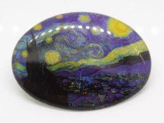Blauwe Zeeuws meisje 2 stuks klein (kinder) haarclipje 4 cm, sterrennacht Vincent van Gogh