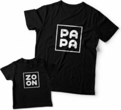 Zwarte Eenmannenkado.nl Matching shirts Vader & Zoon | Zoon Papa | Maat L Jongens T-shirt Maat 62