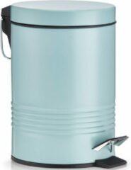 1x Mintgroene vuilnisbakken/pedaalemmers 3 liter van 17 x 25 cm - Zeller - Huishouding - Badkameraccessoires/benodigdheden - Toiletaccessoires/benodigdheden - Kleine prullenbakken