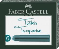 Inktpatronen Faber Castell turquoise doosje a 6 stuks