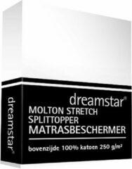 Witte Dreamstar Hoeslaken Molton stretch Splittopper 160x200-180x200