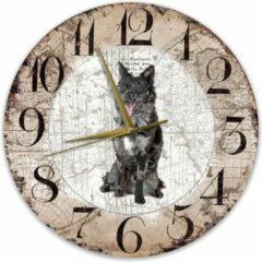 Bruine Creatief Art Houten Klok - 30cm - Hond - Mudi