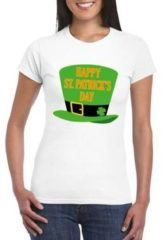 Bellatio Decorations Happy St. Patricksday t-shirt wit dames - St Patrick's day kleding S