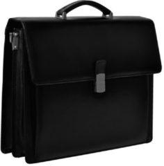 Zwarte Desq 3622 - Leren Aktetas met laptop compartiment.