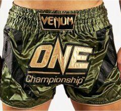 Gouden Venum x ONE FC Muay Thai Short Khaki Gold S - Kids 9/10 Jaar | Jeans maat 28