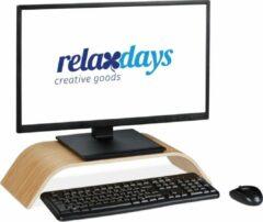 Bruine Relaxdays monitorstandaard - bamboe - monitor verhoger - beeldscherm standaard - gebogen