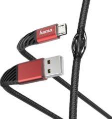 """Hama Oplaad-/gegevenskabel """"Extreme"""", USB-A - micro-USB, 1,5 m, zwart/rood"""