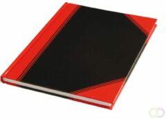 Merkloos / Sans marque Notitieboek harde kaft zwart/rood A5 lijn 60gr 96vel