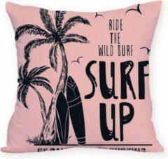 Moodadventures | Kussens | Kussenhoes Surf Up | Strand | Roze | 45 x 45 cm.