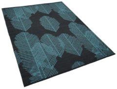 Beliani Outdoor tapijt donkergrijs met bladenpatroon 140x200 cm tweezijdig MEZRA